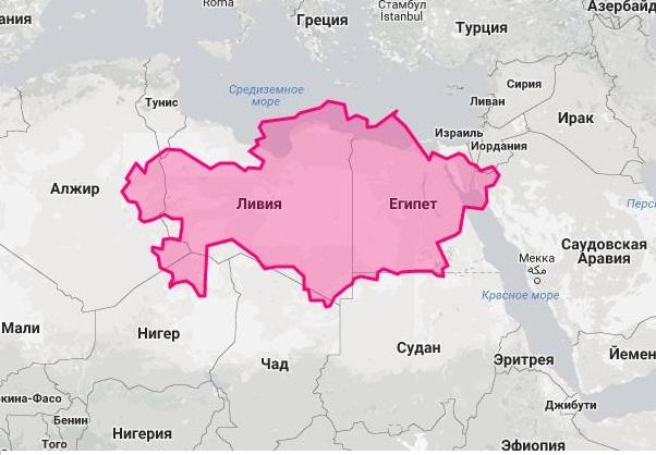 Площадь Казахстана и Африки