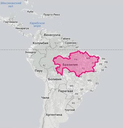 Площадь Казахстана и Бразилии