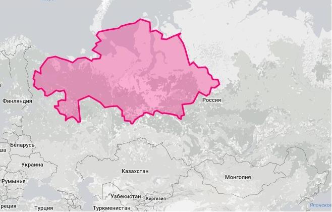 Площадь Казахстана и России